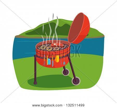 Outdoor grill vector illustration.