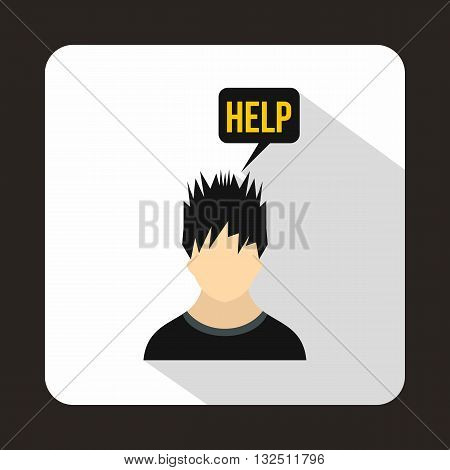 Man needs help icon in flat style on a white background