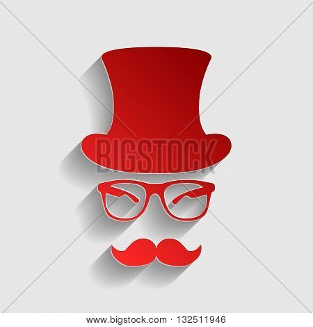 Hipster accessories design. Red paper style icon with shadow on gray.