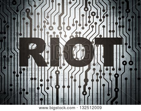 Political concept: circuit board with  word Riot, 3D rendering
