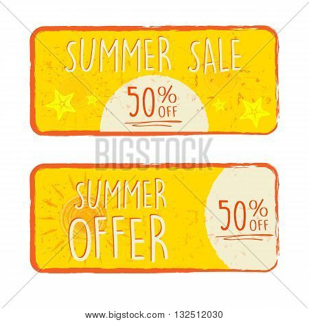 summer sale and offer labels with 50 percentages off and sun and starfish signs - text in yellow drawn banners with symbols business seasonal shopping concept