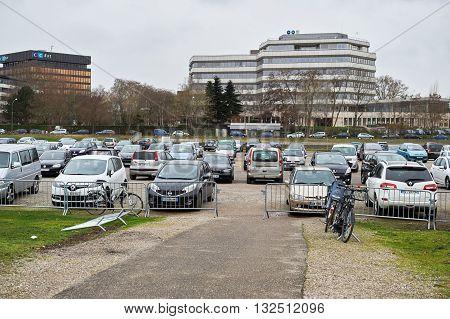 STRASBOURG FRANCE - APR 2 2016: Car parking in urban environemnt near European Parliament in Strasbourg France