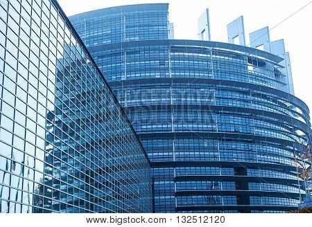 STRASBOURG FRANCE - OCT 30 2015: Facade of the European Parliament building in Strasbourg France