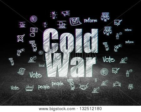Politics concept: Glowing text Cold War,  Hand Drawn Politics Icons in grunge dark room with Dirty Floor, black background