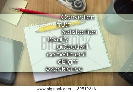Conviction Trust Satisfaction Loyalty Gooodwill Commitment Delight Experience Customer -  Business C