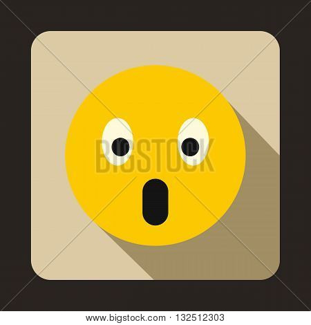 Frightened emoticon with open mouth icon in flat style on a beige background