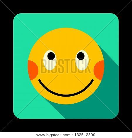 Embarrassed emoticon with flushed red cheeks icon in flat style on a blue background