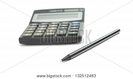 calculator and pencil isolated on white background