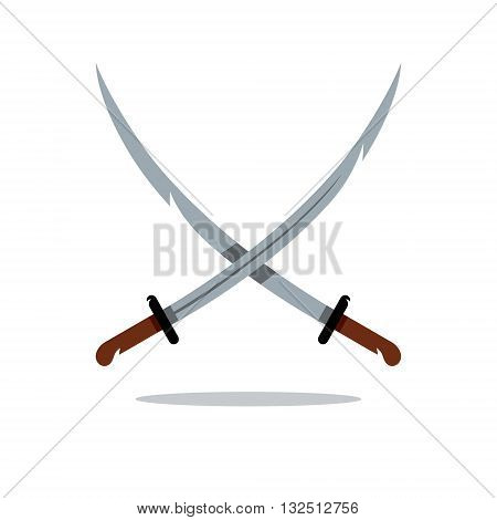 Crosswise asian Weapon Isolated on a White Background