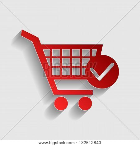 Shopping Cart with Check Mark sign. Red paper style icon with shadow on gray.