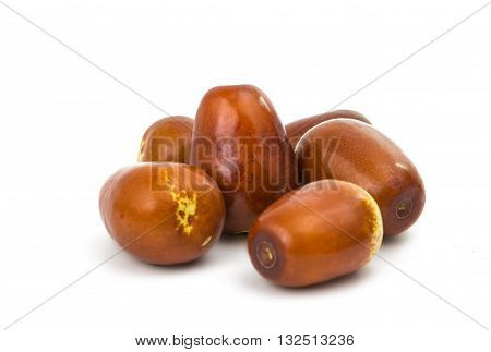 fruit chinese jujubes isolated on white background