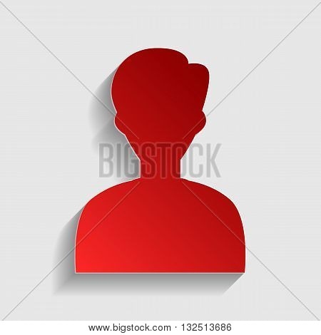 User avatar illustration. Anonymous sign. Red paper style icon with shadow on gray.