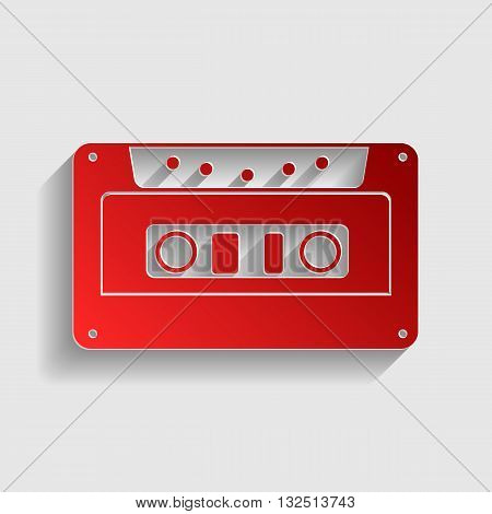 Cassette icon, audio tape sign. Red paper style icon with shadow on gray.