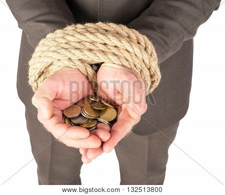 Bound hands with coins isolated on white background