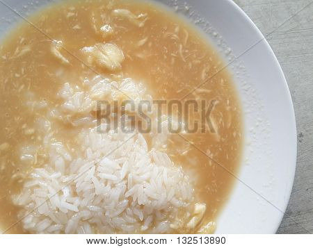 Thai dessert , Sticky rice with durian in coconut milk