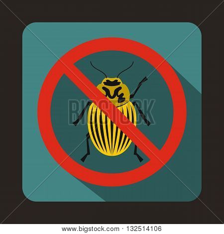 No potato beetle sign icon in flat style on a blue background