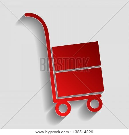 Hand truck sign. Red paper style icon with shadow on gray.