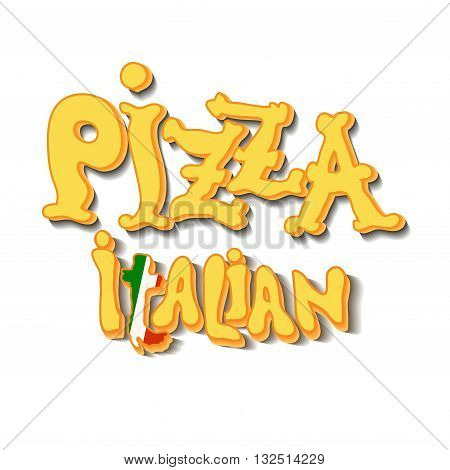 Hand drawn pizza italian text, yellow letters on white background izolated. Pizza lettering. Italian restaurant design. Pizza label design template. Vector illustration.