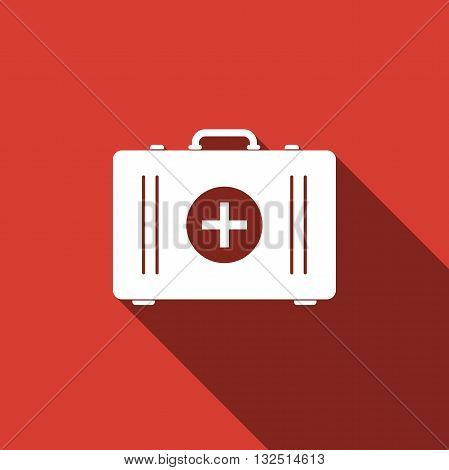 First aid box icon with long shadow. Vector illustration