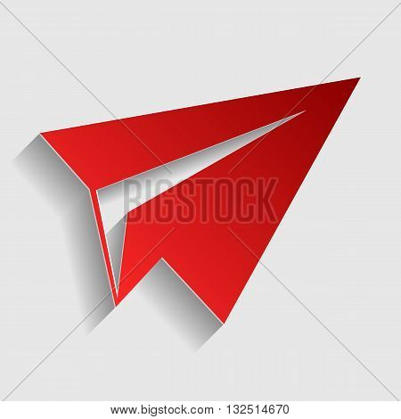 Paper airplane sign. Red paper style icon with shadow on gray.