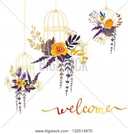 Floral card with orange flowers bouquets in birds cells and calligraphy sign welcome for wedding invitation, party, celebration. Yellow flowers, branches, leaves on white background isolated. Vector.