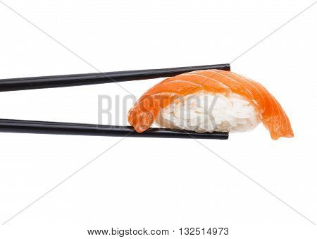 Salmon Sushi Nigiri In Chopsticks Isolated On White Background