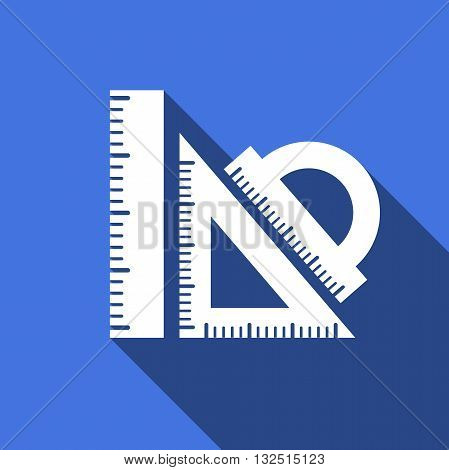 Straightedge vector icon with long shadow. Vector illustration.