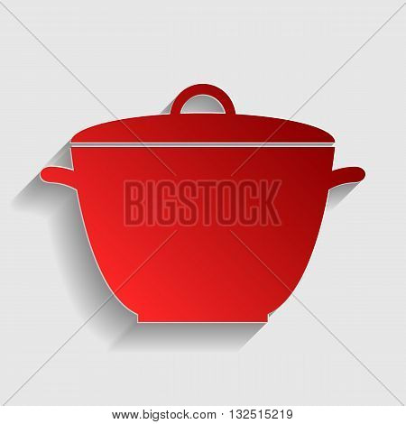 Saucepan simple sign. Red paper style icon with shadow on gray.