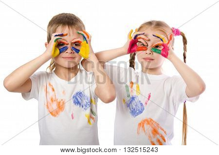 Cute Boy With Girl Doing A Glasses Gesture