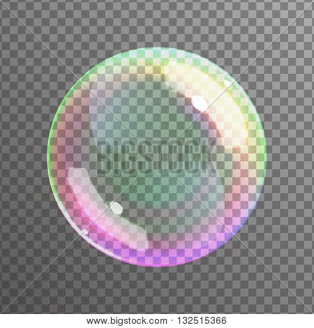 Soap bubble on black background. Realistic bubble with rainbow reflection. Vector illustration.