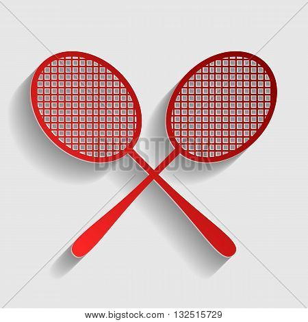 Tennis racquets sign. Red paper style icon with shadow on gray.