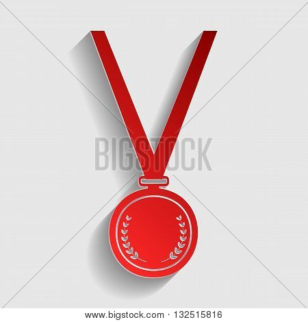 Medal simple sign. Red paper style icon with shadow on gray.