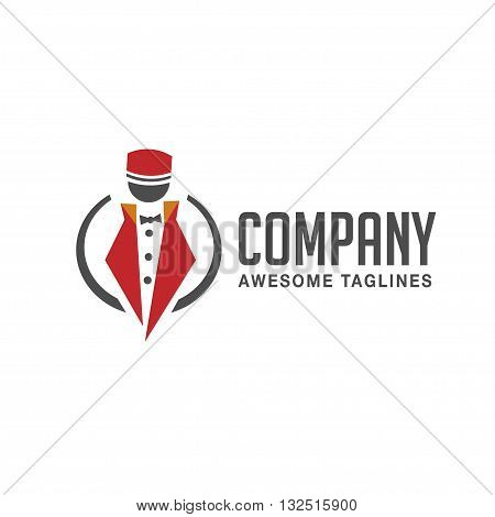 abstract figure with doorman uniform and circle line  vector concept