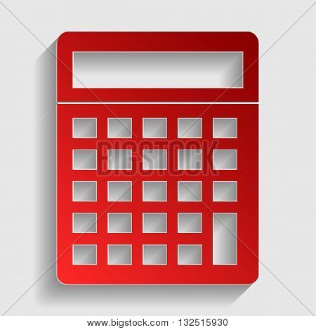 Calculator simple sign. Red paper style icon with shadow on gray.