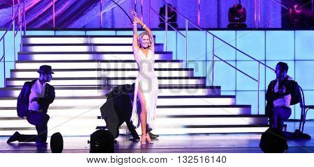 NEW YORK-JAN 12: Kym Johnson (C) performs at Dancing with the Stars: Live! Tour at the Beacon Theatre on January 15, 2015 in New York City.