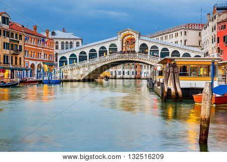 Rialto Bridge at dusk in Venice, Italy