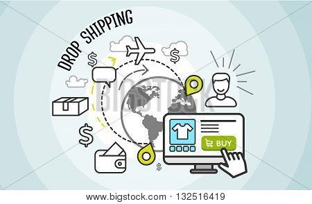 Drop shipping concept icon flat style. Drop shipping. Dropship business, box cardboard, distribution package, service web, pack delivery, cargo and buy, internet sale technology illustration.