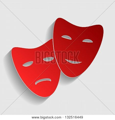 Theater icon with happy and sad masks. Red paper style icon with shadow on gray.