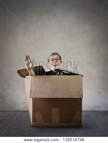 Happy guy inside the box