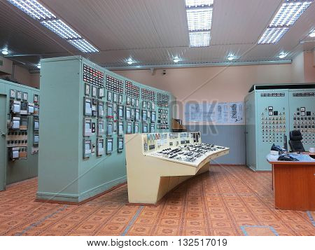 Moldova, 13.may 2016:  Control panel room at electric power generation plant