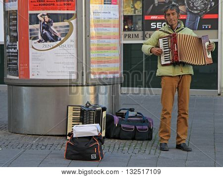 Man Is Playing Accordion Outdoor In Brno, Czech