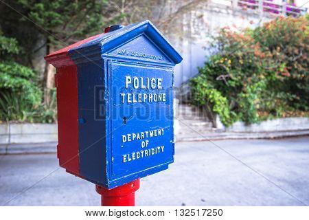 san francisco,usa:old police box on street in san francisco by zhudifeng on Nov 14 2016
