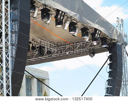 Structures of stage electric illumination spotlights equipment and speakers