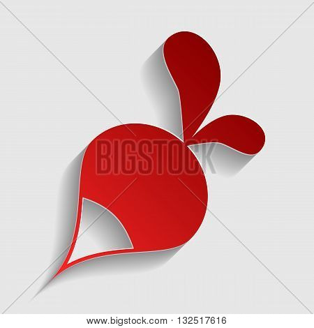 Radish simple sign. Red paper style icon with shadow on gray.