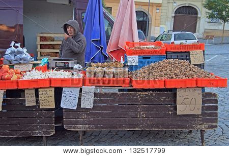 Man Is Selling Vegetables On The Street Market In Brno, Czech