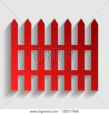Fence simple sign. Red paper style icon with shadow on gray.