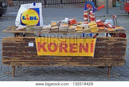Brno Czech Republic - November 2 2015: stall with spicery on the street market in Brno Czech