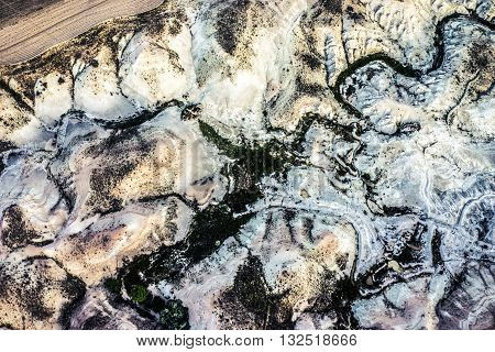 An amorphous landscape shot of Cappadocia from above