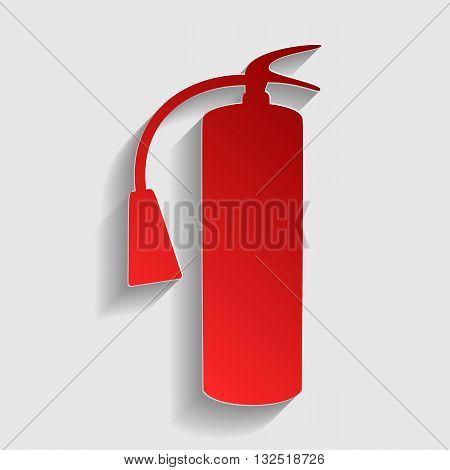 Fire extinguisher sign. Red paper style icon with shadow on gray.