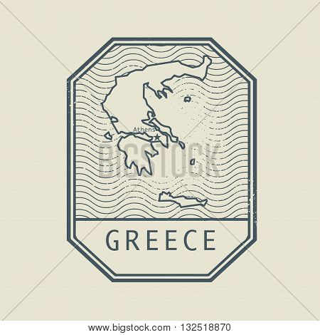 Stamp with the name and map of Greece, vector illustration